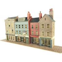 PN106 N Scale Low Relief High Street Bank & Shops