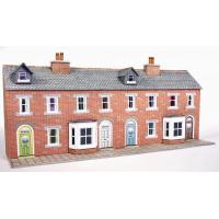 PN174 N Scale Low Relief Terraced House Fronts (Red Brick Style)